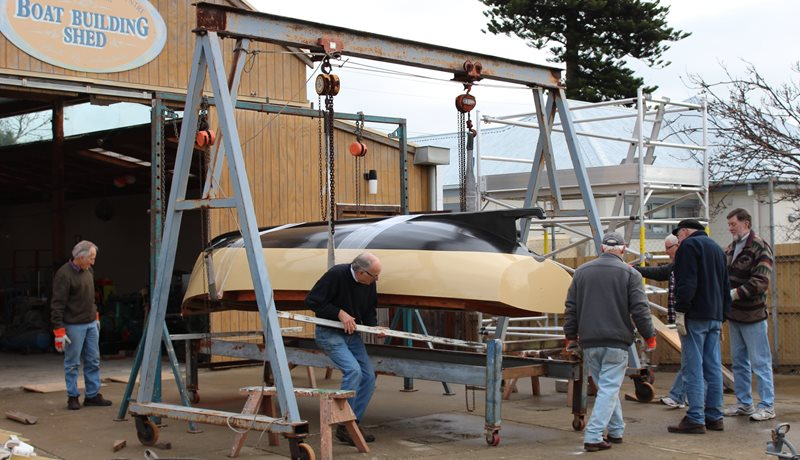 Volunteers in action at the Boat Building Shed