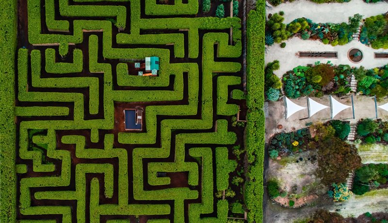 Aerial photo of the Barrabool Maze and Gardens