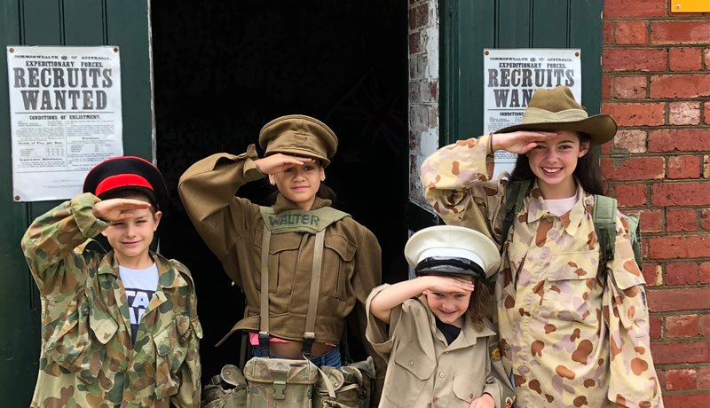 Children enjoying dress ups at Fort Queenscliff