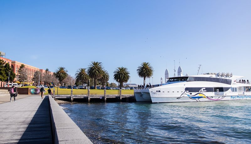 Port Phillip Ferries docked right on Geelong's Waterfront