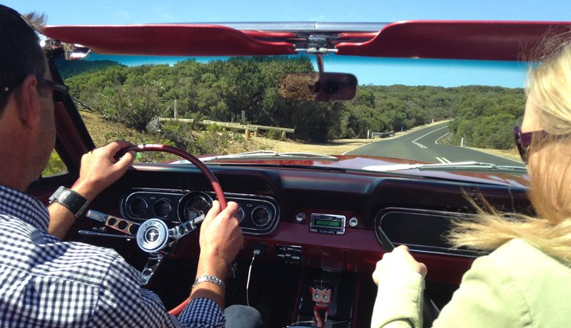 Surfcoast and Great Ocean Road tour in a Mustang Convertible on a VIP tour with chauffeur driver