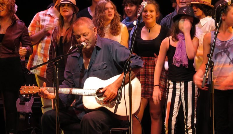 Local Bellarine musician Chris Wilson performing with community