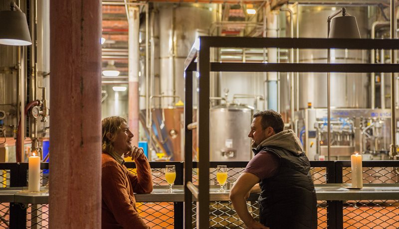 Enjoy a beer literally in the brewery