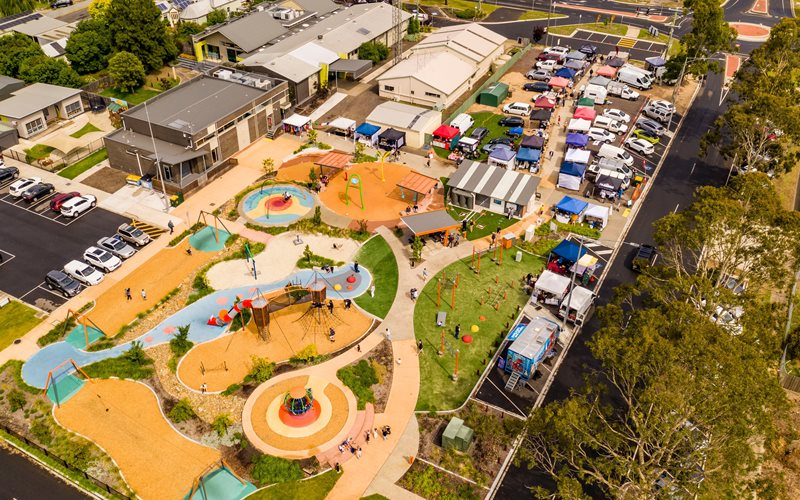 Aerial View of the Farmers' Market and the Heart Playground