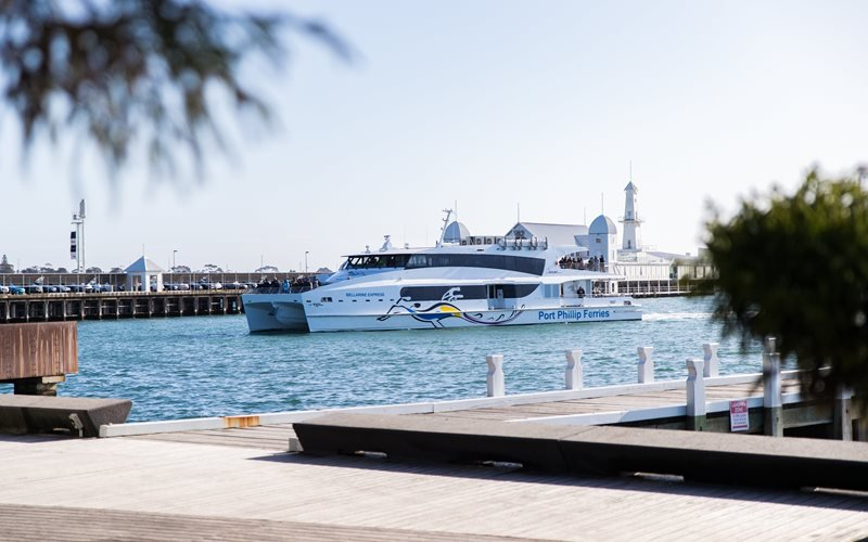 The Geelong Flyer arriving at the Geelong waterfront
