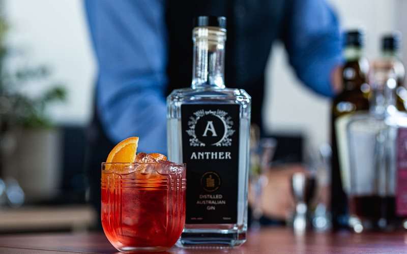 Anther Gin Negroni on the Anther Distillery Bar - enjoy champion awarded Australian spirits.