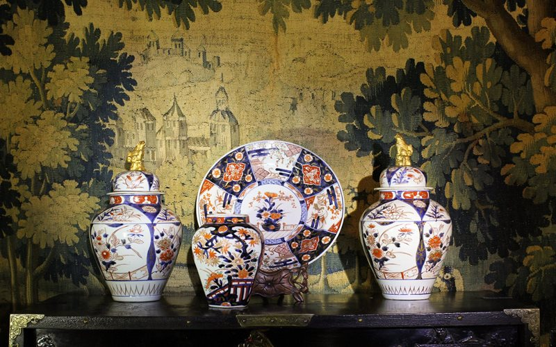 Some early Japanese porcelain, lacquer chest, French tapestry, all 17th century at Moorabool Antique