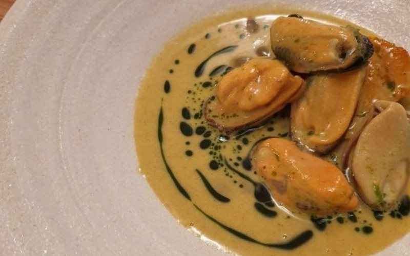 Portarlington Mussels on Roasted Pumpkin with Normandy Cider Sauce